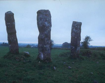 Carved Leperchaun Stones in County Roscommon, Ireland close to the Ballintober-Castlerea Road.
